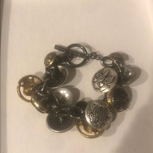 Gold and silver toggle bracelet